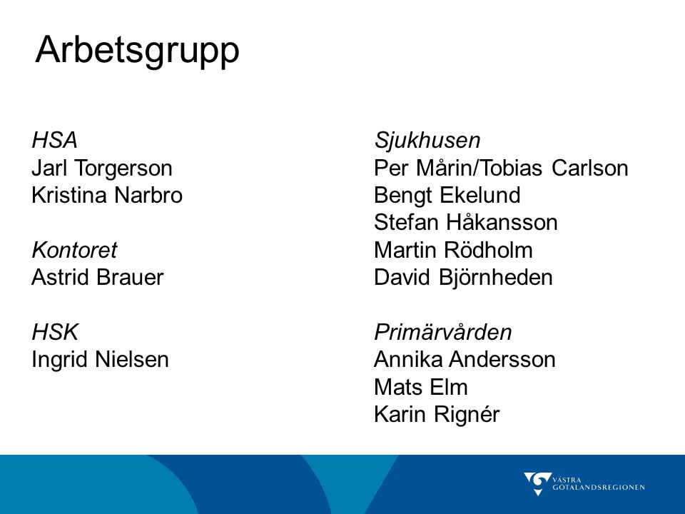 Arbetsgrupp HSA Sjukhusen Jarl Torgerson Per Mårin/Tobias Carlson