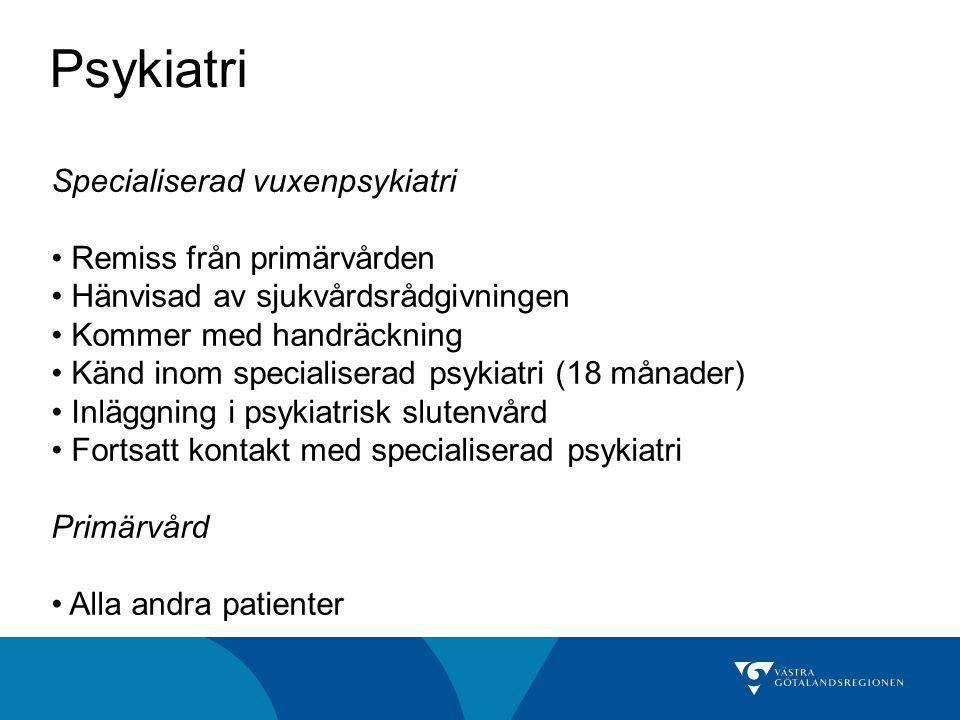 Psykiatri Specialiserad vuxenpsykiatri Remiss från primärvården