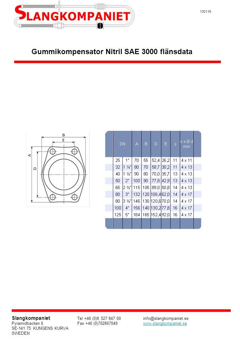Gummikompensator Nitril SAE 3000 flänsdata
