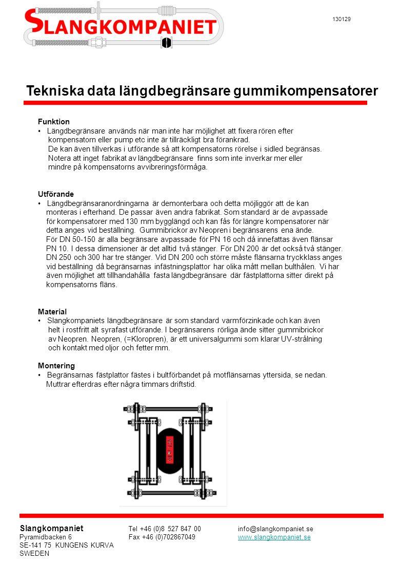 Tekniska data längdbegränsare gummikompensatorer
