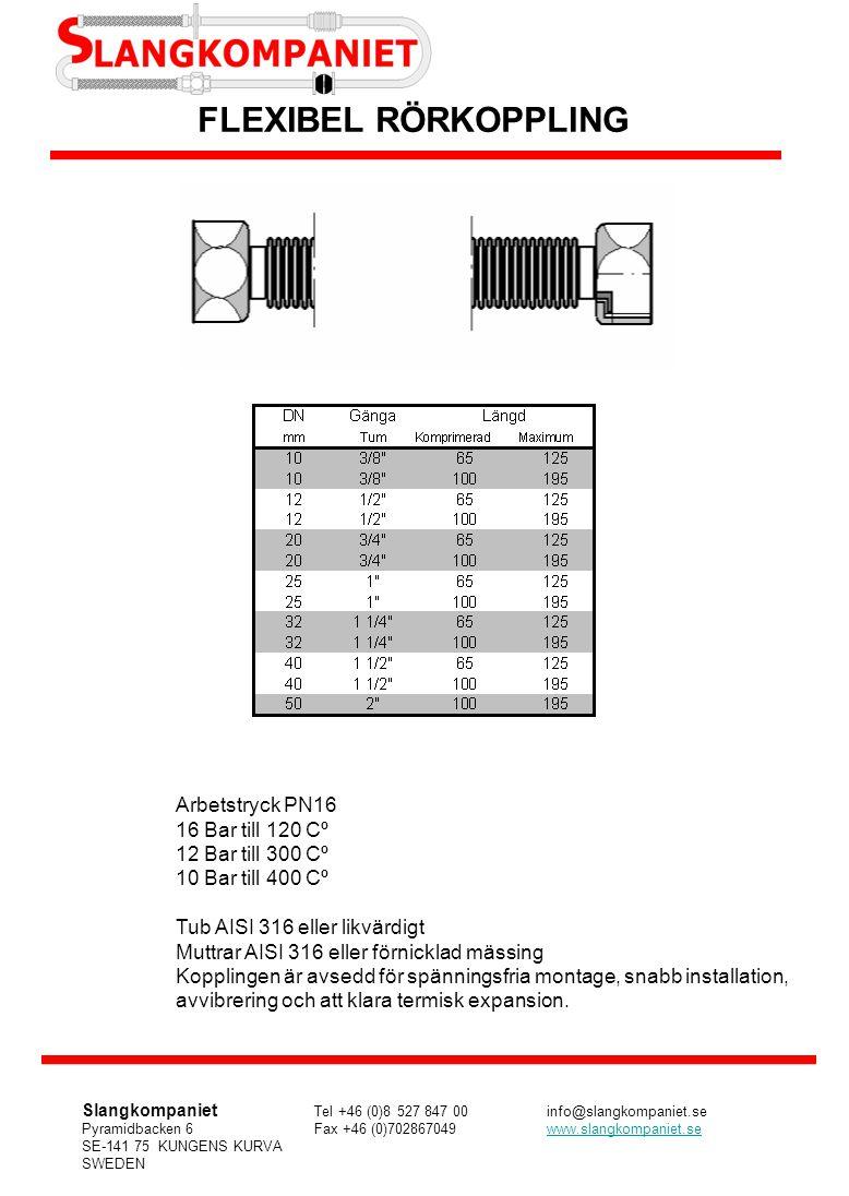 FLEXIBEL RÖRKOPPLING Arbetstryck PN16 16 Bar till 120 Cº