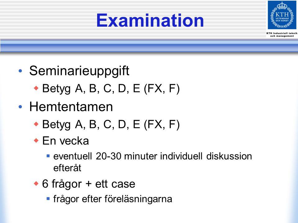 Examination Seminarieuppgift Hemtentamen Betyg A, B, C, D, E (FX, F)