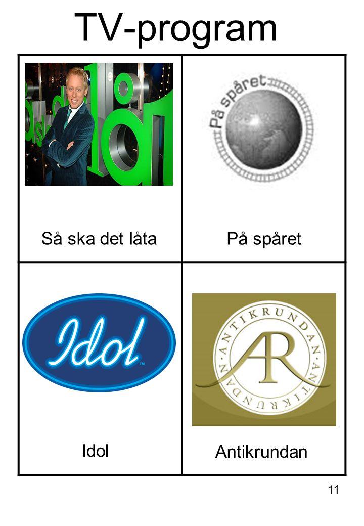 TV-program Så ska det låta På spåret Idol Antikrundan