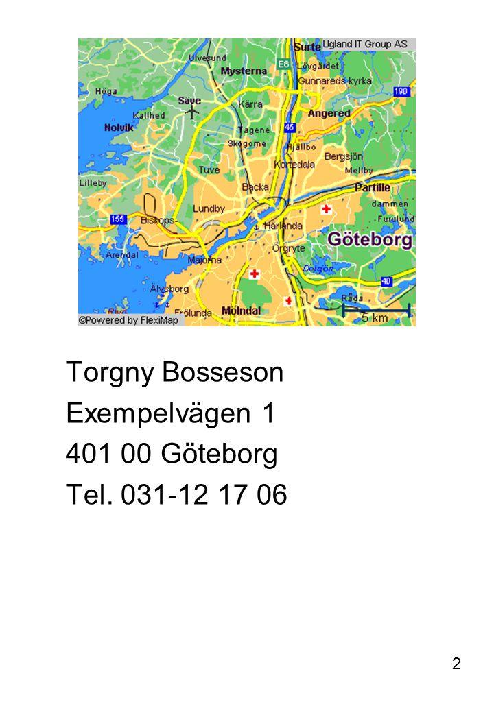 Torgny Bosseson Exempelvägen 1 401 00 Göteborg Tel. 031-12 17 06