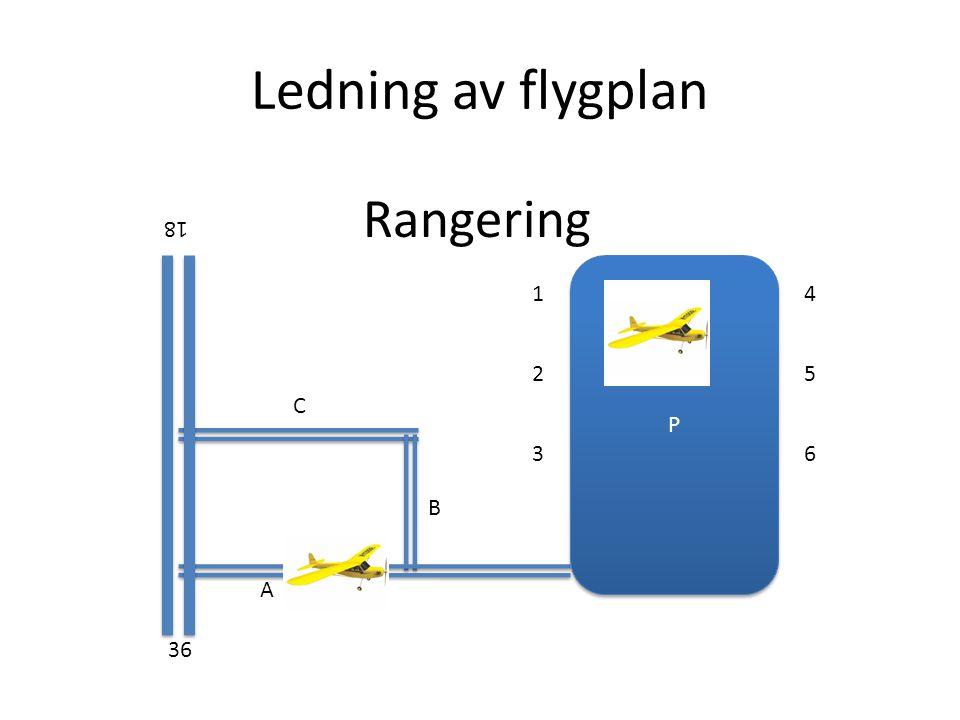 Ledning av flygplan Rangering 18 P 1 4 2 5 C 3 6 B A 36
