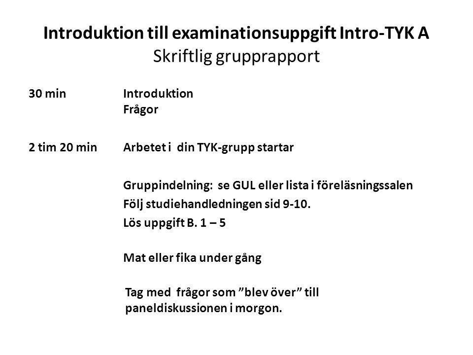 Introduktion till examinationsuppgift Intro-TYK A Skriftlig grupprapport