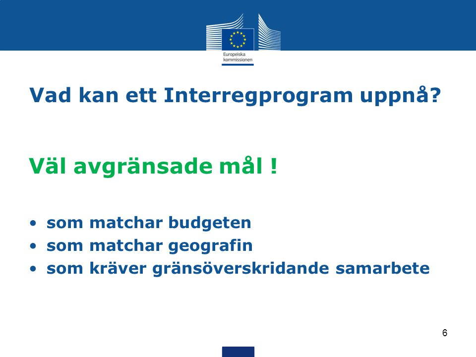 Vad kan ett Interregprogram uppnå