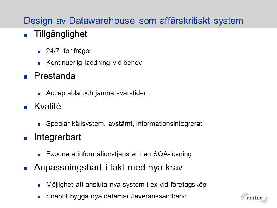 Design av Datawarehouse som affärskritiskt system