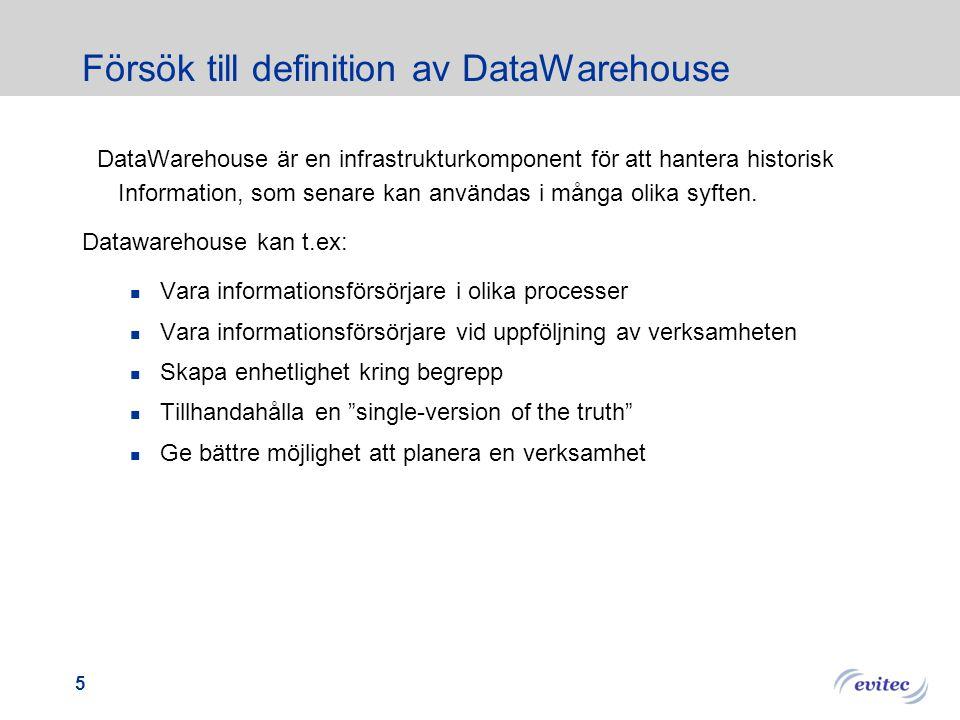 Försök till definition av DataWarehouse