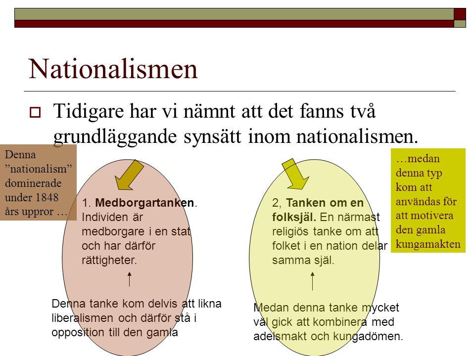 Nationalismen Tidigare har vi nämnt att det fanns två grundläggande synsätt inom nationalismen.