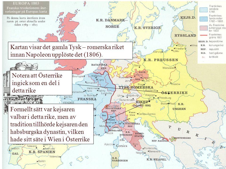 Kartan visar det gamla Tysk – romerska riket innan Napoleon upplöste det (1806).