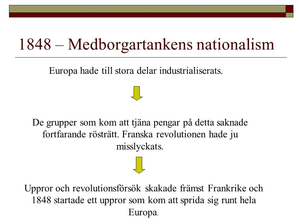 1848 – Medborgartankens nationalism