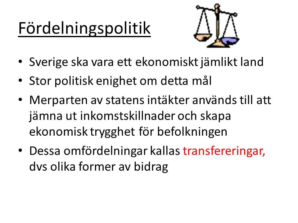 Fördelningspolitik Sverige ska vara ett ekonomiskt jämlikt land