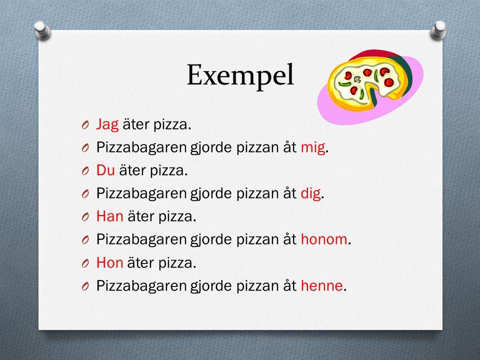 Exempel Jag äter pizza. Pizzabagaren gjorde pizzan åt mig.