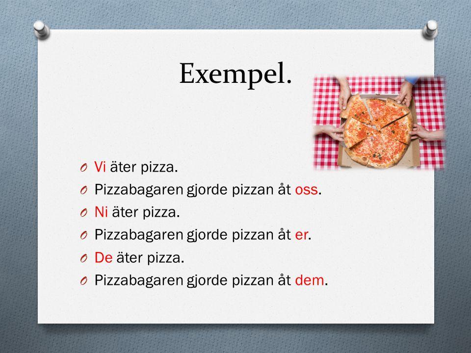 Exempel. Vi äter pizza. Pizzabagaren gjorde pizzan åt oss.