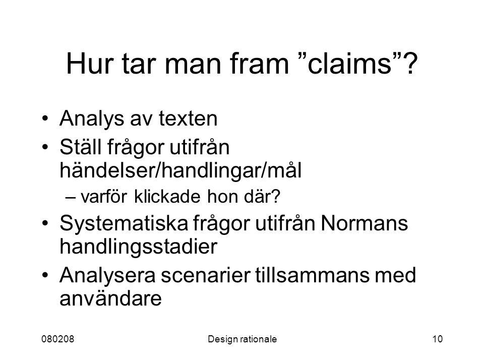 Hur tar man fram claims