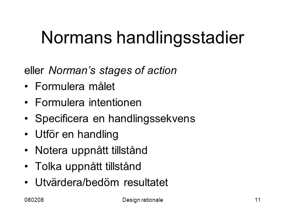 Normans handlingsstadier