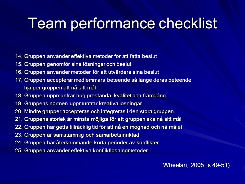 Team performance checklist