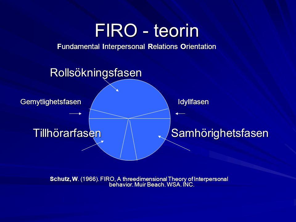 FIRO - teorin Tillhörarfasen Samhörighetsfasen