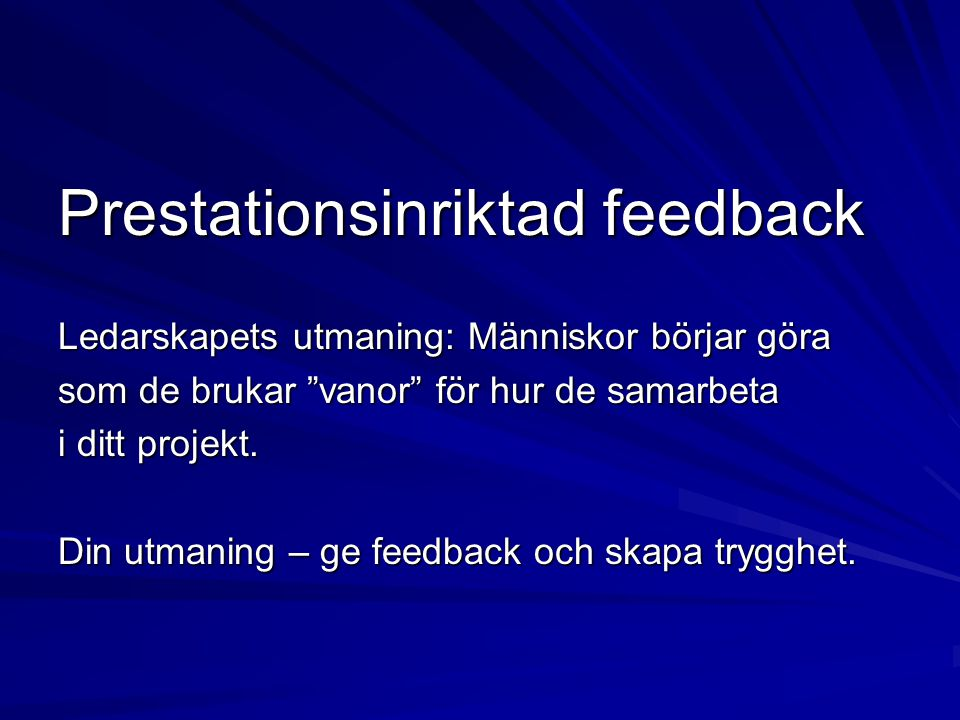 Prestationsinriktad feedback