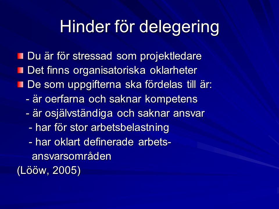 Hinder för delegering Du är för stressad som projektledare