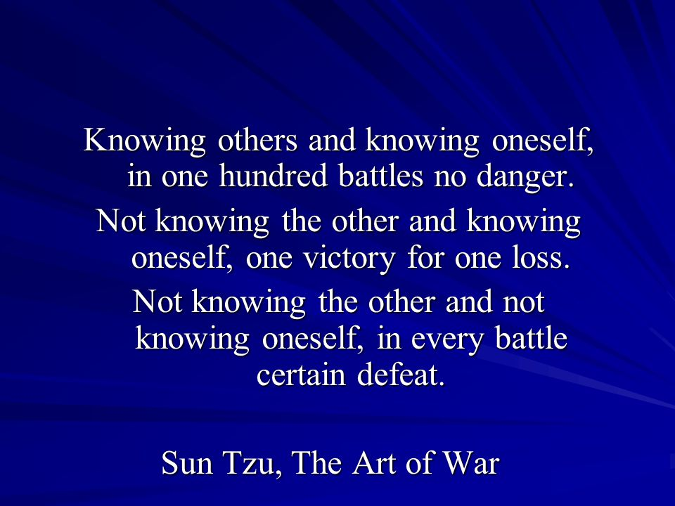 Knowing others and knowing oneself, in one hundred battles no danger.