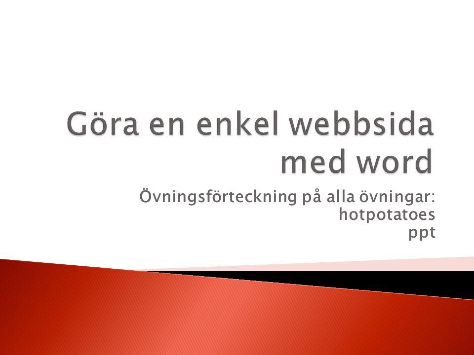 Göra en enkel webbsida med word
