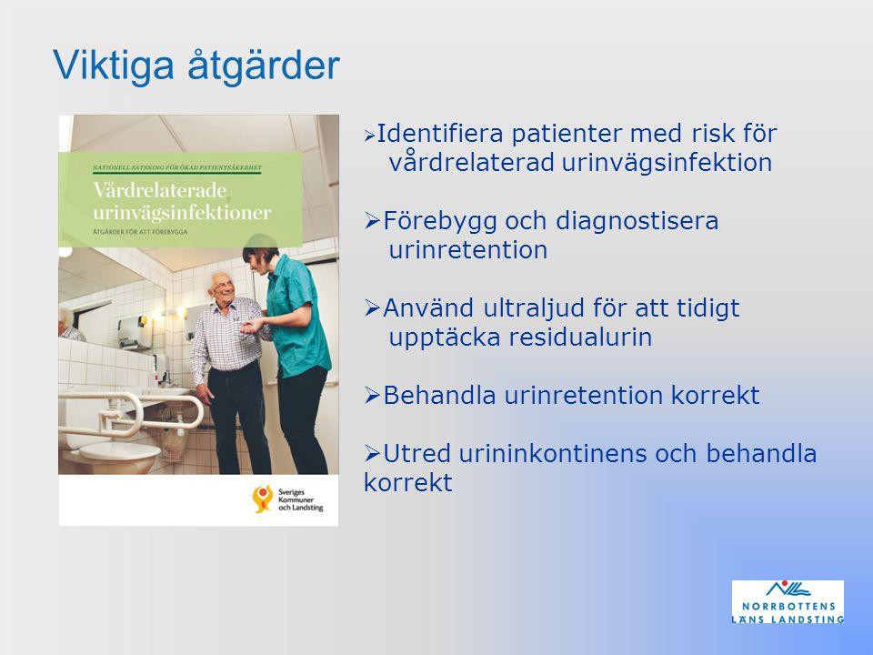 Viktiga åtgärder Förebygg och diagnostisera urinretention