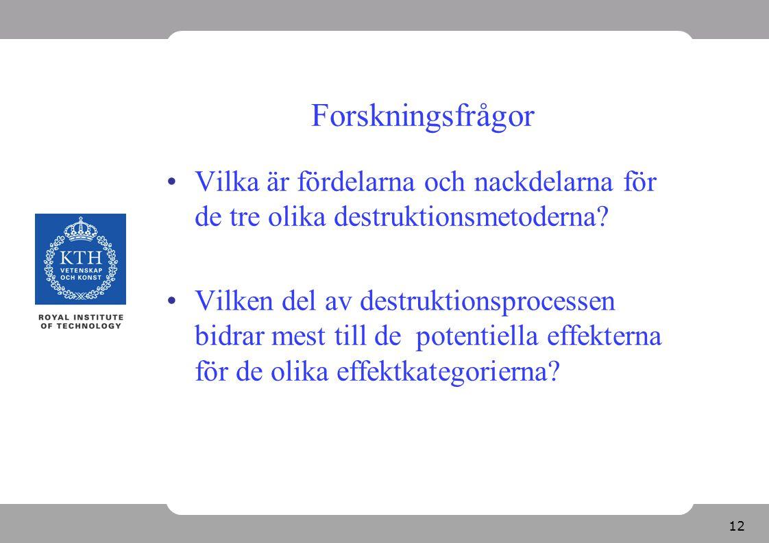 Forskningsfrågor Vilka är fördelarna och nackdelarna för de tre olika destruktionsmetoderna