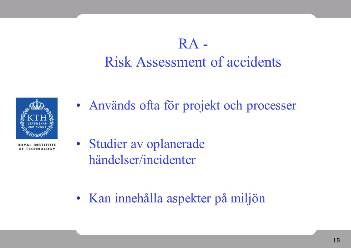 RA - Risk Assessment of accidents