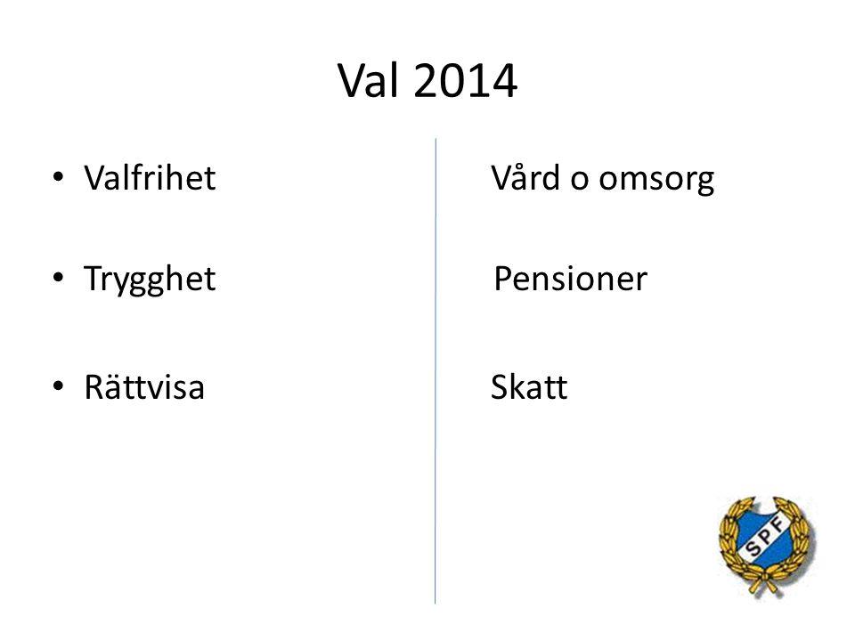 Val 2014 Valfrihet Vård o omsorg. Trygghet Pensioner.