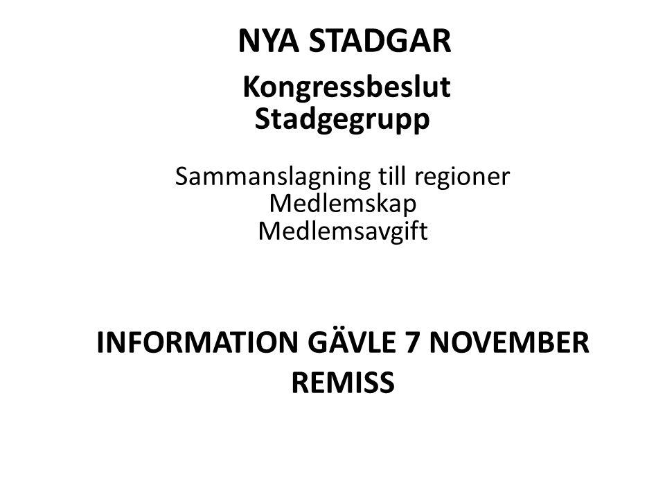 Nya stadgar Kongressbeslut Stadgegrupp Sammanslagning till regioner Medlemskap Medlemsavgift INFORMATION GÄVLE 7 NOVEMBER.