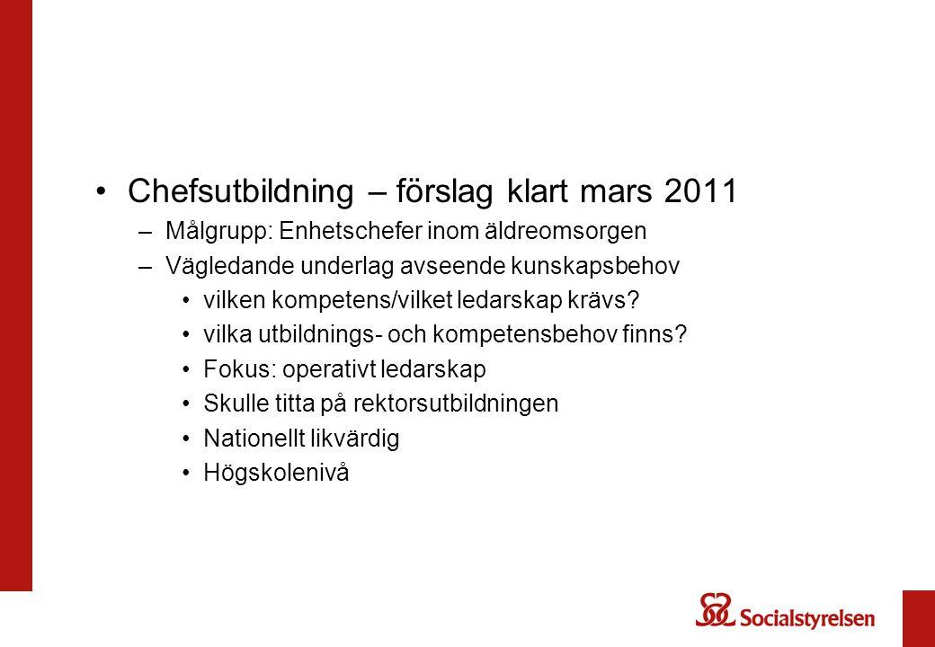 Chefsutbildning – förslag klart mars 2011