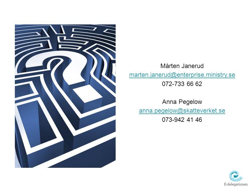 Mårten Janerud marten.janerud@enterprise.ministry.se. 072-733 66 62. Anna Pegelow. anna.pegelow@skatteverket.se.