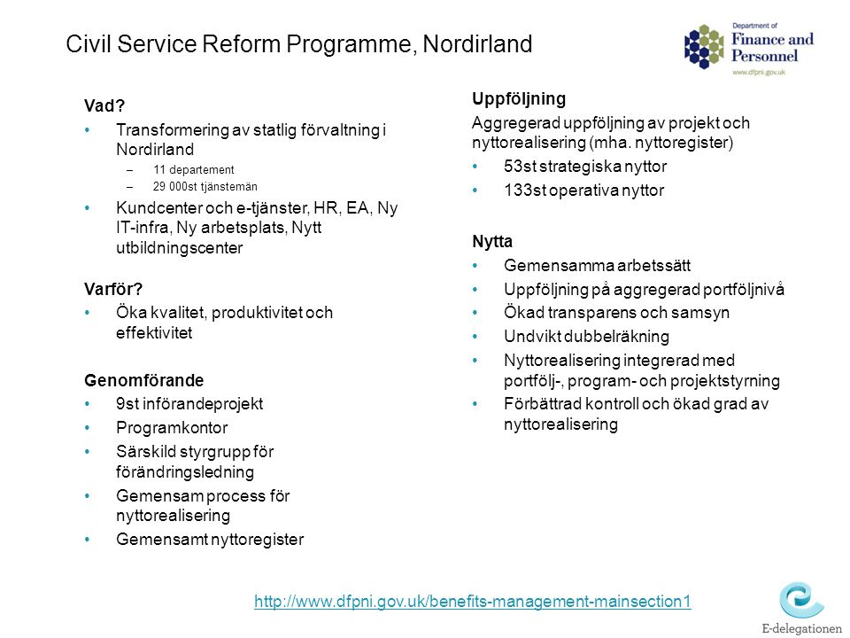 Civil Service Reform Programme, Nordirland