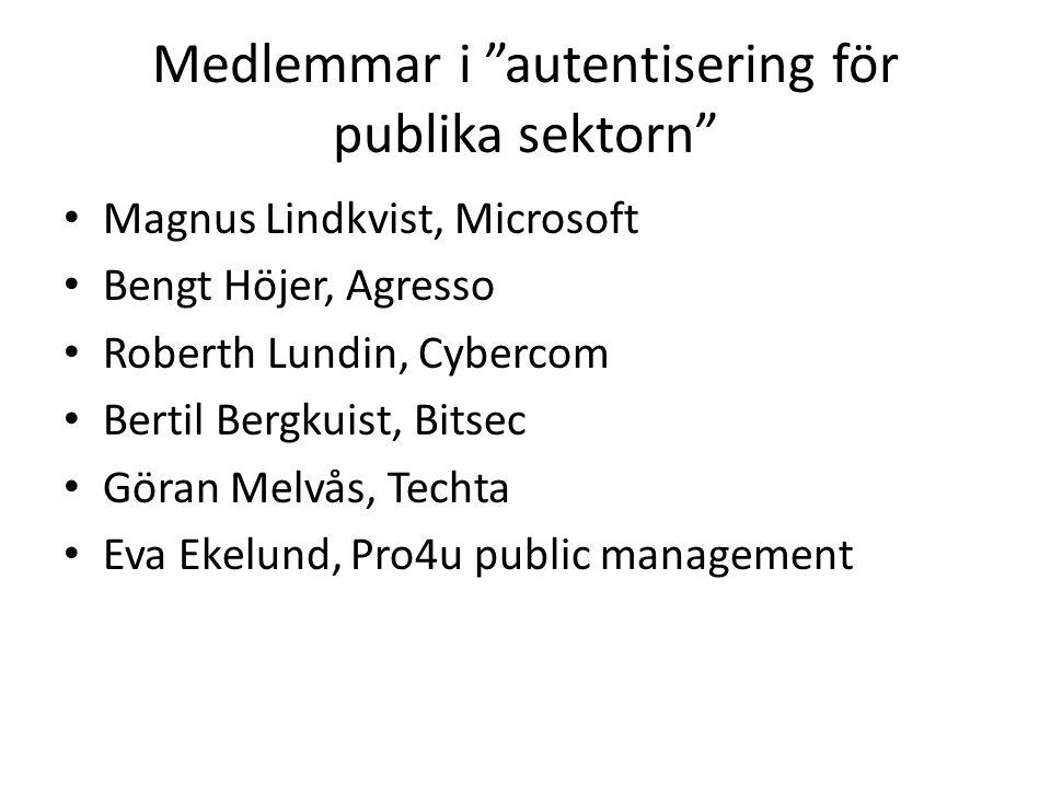 Medlemmar i autentisering för publika sektorn