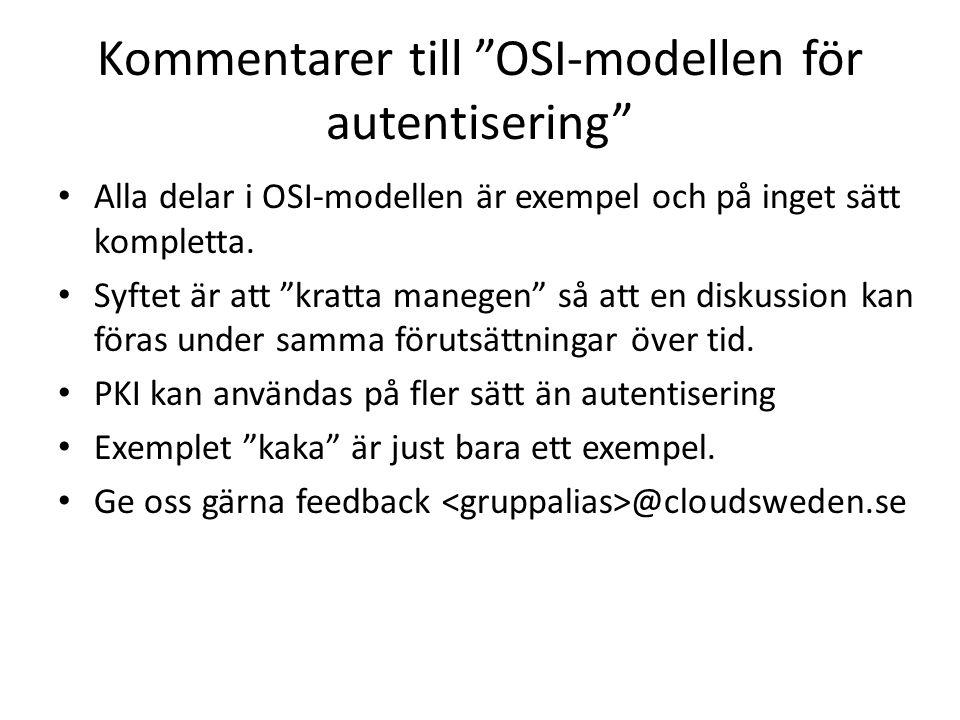 Kommentarer till OSI-modellen för autentisering