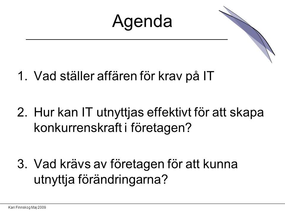 Agenda Vad ställer affären för krav på IT