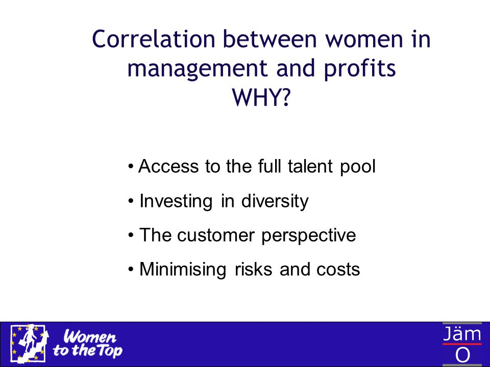 Correlation between women in management and profits WHY