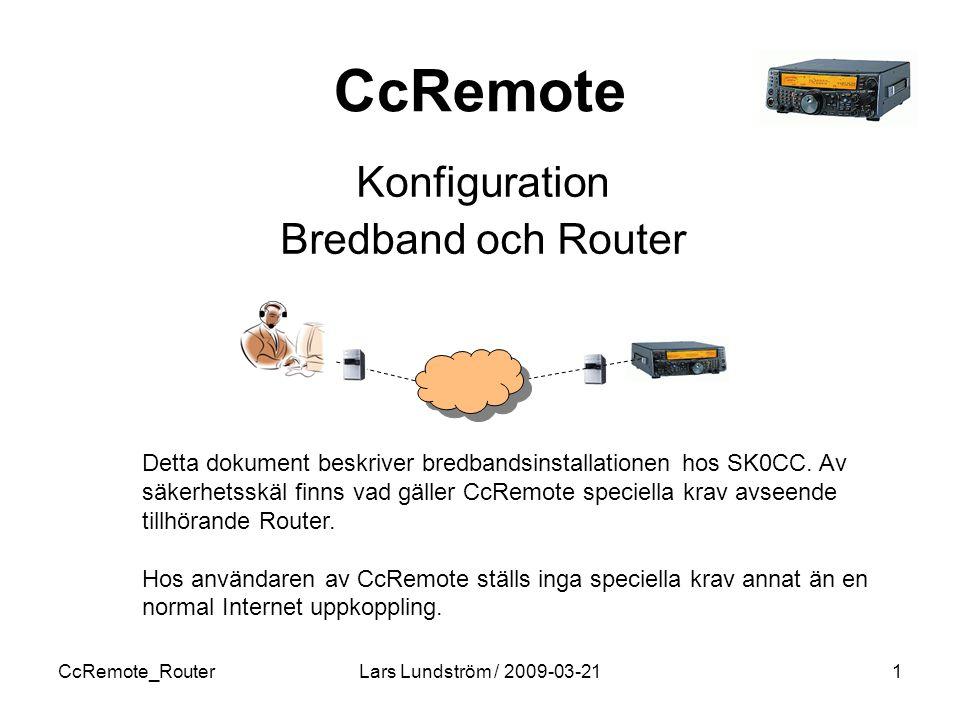 Konfiguration Bredband och Router