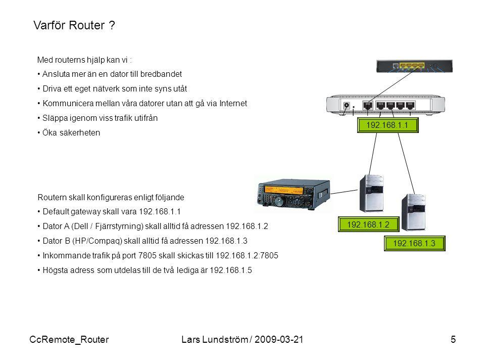 Varför Router CcRemote_Router Lars Lundström / 2009-03-21