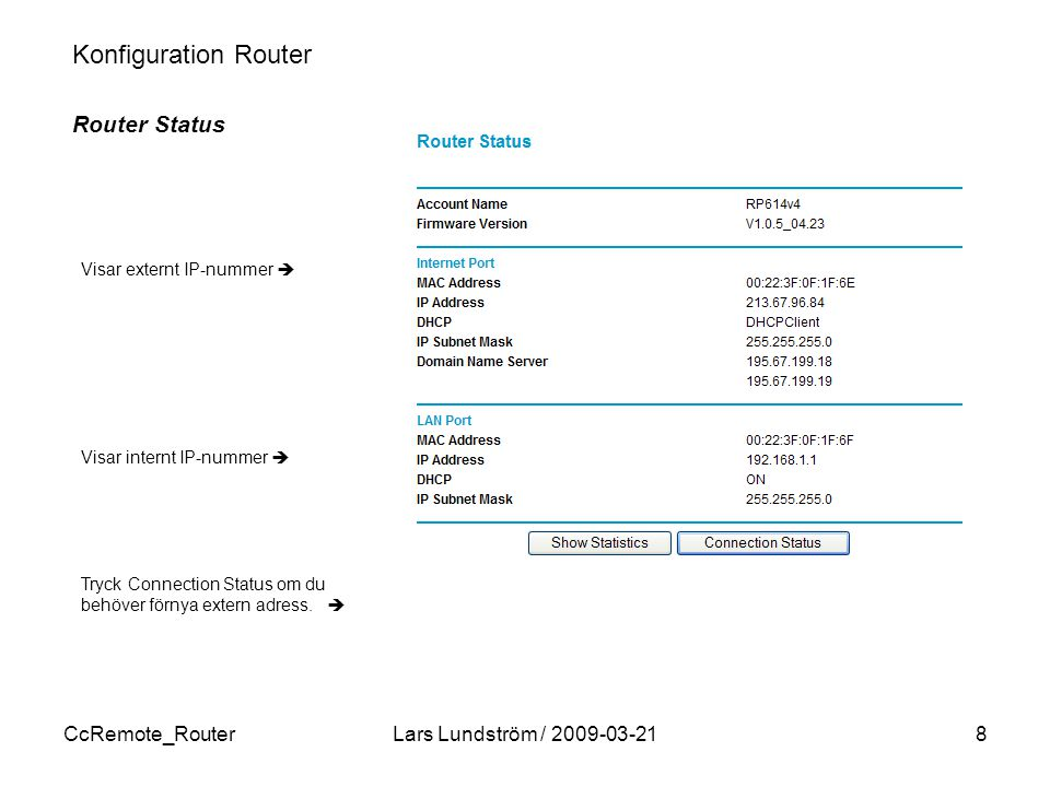 Konfiguration Router Router Status CcRemote_Router