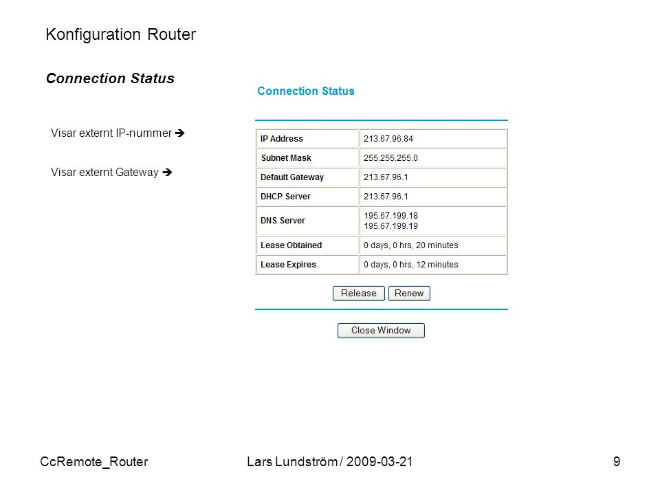 Konfiguration Router Connection Status CcRemote_Router