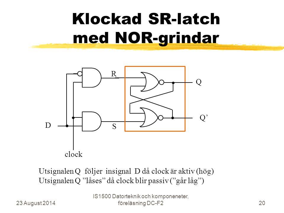 Klockad SR-latch med NOR-grindar