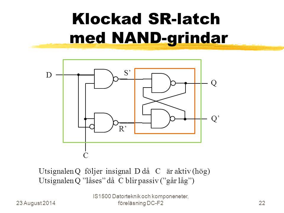 Klockad SR-latch med NAND-grindar