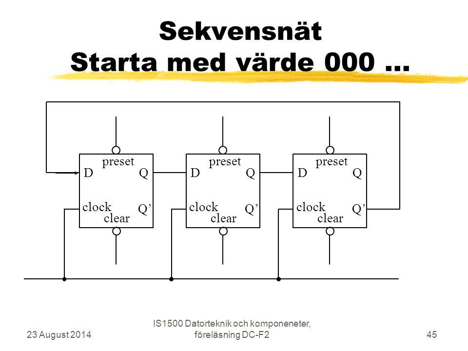 Sekvensnät Starta med värde 000 ...