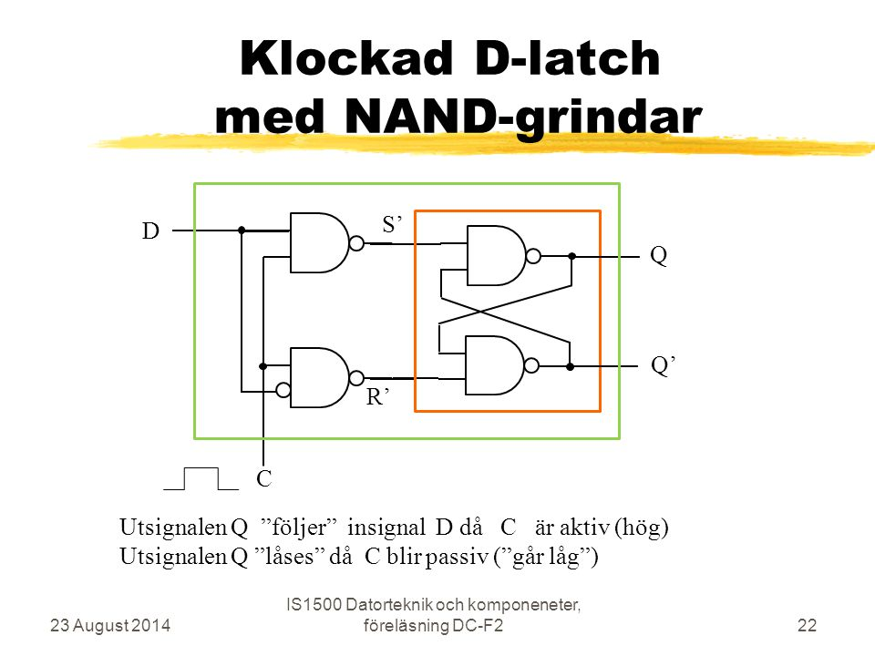 Klockad D-latch med NAND-grindar