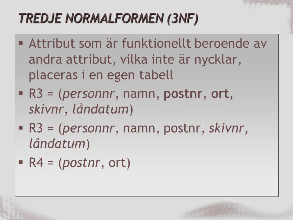 TREDJE NORMALFORMEN (3NF)