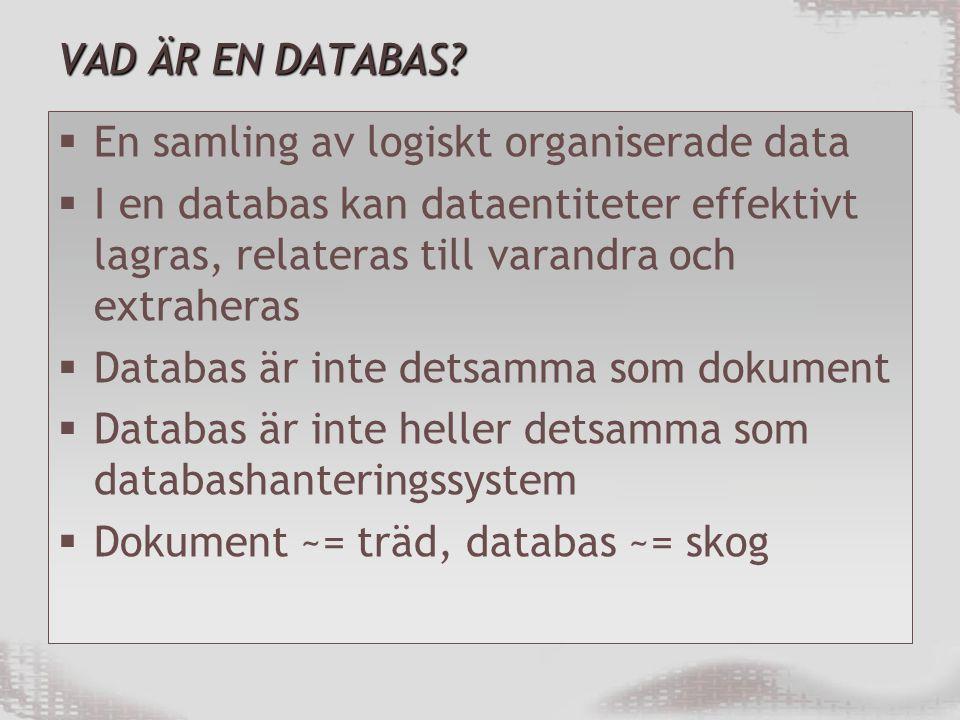 VAD ÄR EN DATABAS En samling av logiskt organiserade data. I en databas kan dataentiteter effektivt lagras, relateras till varandra och extraheras.