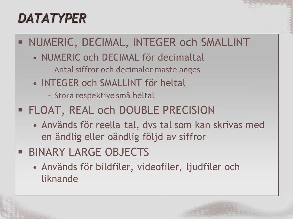 DATATYPER NUMERIC, DECIMAL, INTEGER och SMALLINT